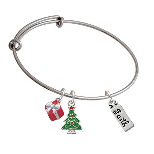 Faith Christmas Tree Expandable Bangle Bracelet