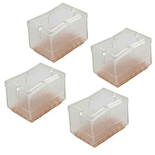 BQLZR Rectangular Transparent Silicon Gel Chair Leg Caps Feet Pads Furniture