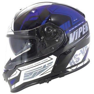 Viper RSV8 Stereo Full Face Prime Black/Blue Motorcycle Helmet