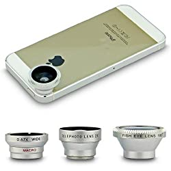 VersionTech Universal Silver 4 in 1 Fish eye & Wide Angle & Macro Camera & 2X Telephoto Lens Photo Kit for Mobile Phone iPhone 5 5S 4S 4 Samsung Galaxy Note 3 N9000 Note 2 N7100 Samsung Galaxy S4 i9500 S3 i9300 HTC One M7 Sony Xperia L36h L39h Z1