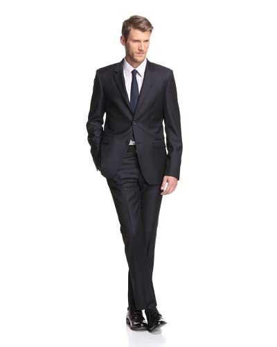 Calvin Klein Collection Men's Bowery 2-Button Slub Stripe Suit  [Navy]