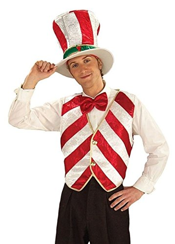 [Candy Cane Costume Vest Bartender Adult Mr. Peppermint Men Christmas Hat Tie] (Peppermint Costumes)