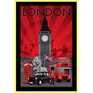tableau de londres avec symboles deco londres. Black Bedroom Furniture Sets. Home Design Ideas