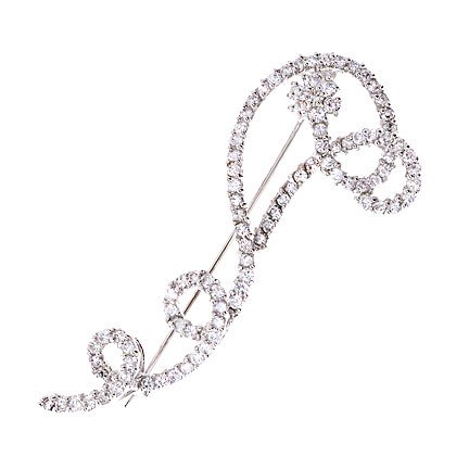 Swivel C.Z. Diamond Silver Pin Brooch (Nice Holiday Gift, Special Black Firday Sale)