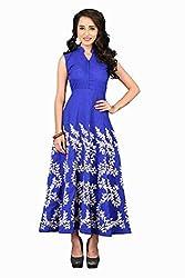 Isha Enterprise Women's Raw Silk Blue Kurti