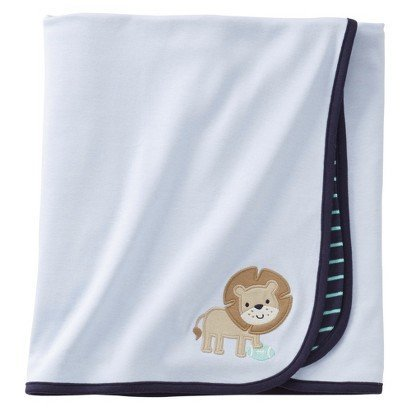 Carter's 2-ply Lion Striped Baby Boy Receiving Blanket - Blue - 1