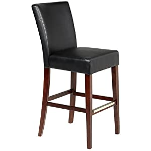 Powell Black Bonded Leather Bar Stool, 30-1/4-Inch Seat Height