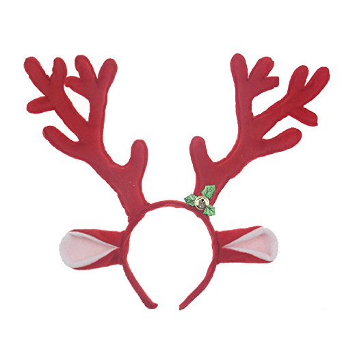 [Skue Christmas Masquerade Costume party Plush Reindeer Antlers Headband (red)] (Little Red Ant Costume)