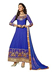 Idha Royal Blue Semi-Stitched Embroidered Salwar Suit For Women