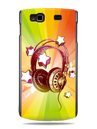 "Grüv Premium Case - ""Colorful Music Dj Headphones & Stars"" Design - Best Quality Designer Print On Black Hard Cover - For Samsung Wave Iii 3 S8600"
