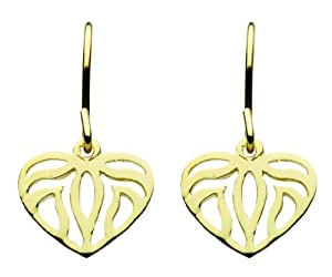 Dew Sterling Silver Drop Earrings with Gold Plate Cut Out Heart 68091GD004