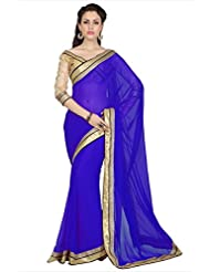 Designersareez Women Royal Blue Chiffon Saree With Unstitched Blouse (1716)