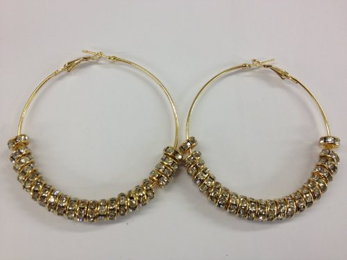 HOT Rhinestone Gold Plated Circle Hoops Basketball Wives Earrings 2.5/inches