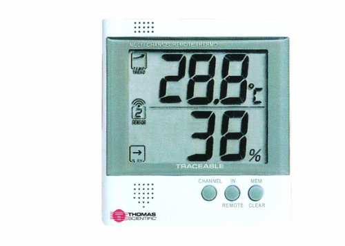 Thomas Workstation Traceable Radio-Signal Remote Humidity Meter/Thermometer, -4 to 140 degree F, -20 to 60 degree C, 25-90% RH - 1