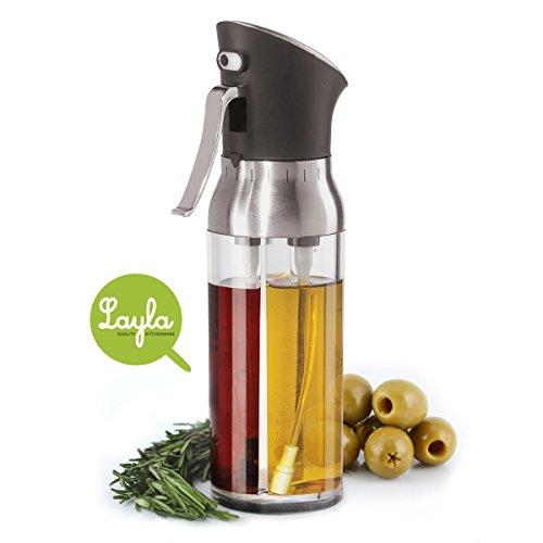 New Improved Layla Cooking Oil Sprayer, 2-in-1 Mister for Olive Oil & Vinegar, Refillable, Non-aerosol, BPA-free, 6.7 Fl.Oz en_US (Vinegar Oil Mister compare prices)
