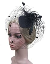 Feather Fabric Flower Net Mesh Fascinator Hair Clip and Cocktail Hat