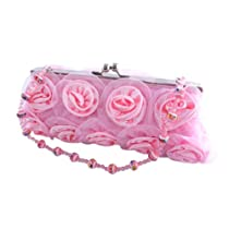 "Fashion Pink Rose Clutch Purse Bag ""Romantic"" 001"