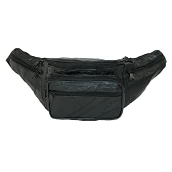 CTM® Unisex Patch Leather Large Fanny Waist Pack, Black