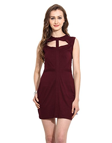 Maroon Cut Out Viscose Jersey Skater Dress X-Large