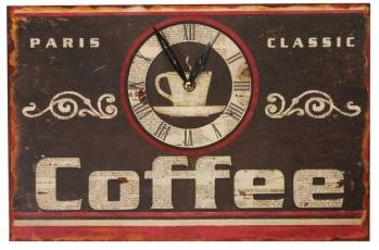 Manual Woodworkers & Weavers Wooden Sign Style Coffee Clock, 15 by 10-Inch