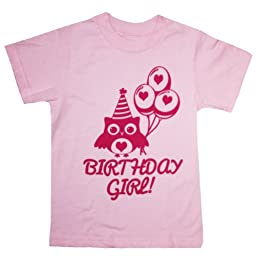Happy Family I\'m The Birthday Girl Cute Owl T-Shirt (6T, Pink)