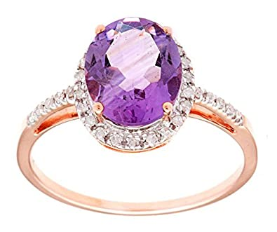 10k Rose Gold 3ct Oval Amethyst and Diamond Ring