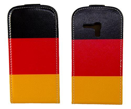 handy-point Klapptasche Klapphülle Flip Case Tasche Hülle Schutzhülle für Samsung Galaxy S3 Mini mit Deutschland Flagge, Schwarz, Rot, Gold