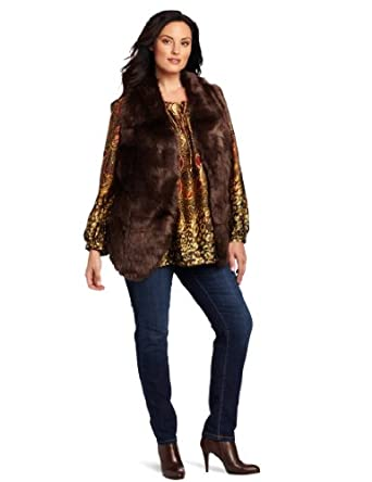 Jones New York Women's Plus-Size Fur Vest, Walnut, 0X