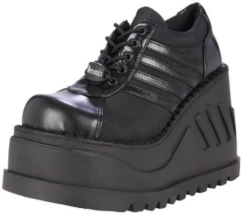 DemoniaDemonia Stomp-08 - Scarpe Basse Stringate Donna , Nero (Schwarz (Schwarz (Blk Vegan Leather))), 39