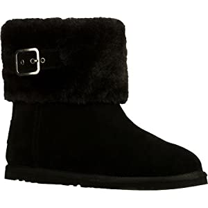 Versatile style and snuggly comfort combine in the SKECHERS Star Shooter - Skyward boot. Soft suede upper in a slip on casual ankle height cool weather boot with stitching accents and faux-fur cuff. Soft plush faux fur full boot lining for warm comfo...