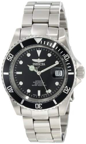 Invicta Men's Pro Diver 9937OB Silver Stainless-Steel Swiss Automatic Watch with Black Dial