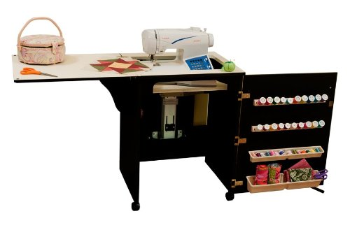Arrow Sewing Cabinet Sewnatra Sewing Machine & Accessories Storage with AirLift - Black