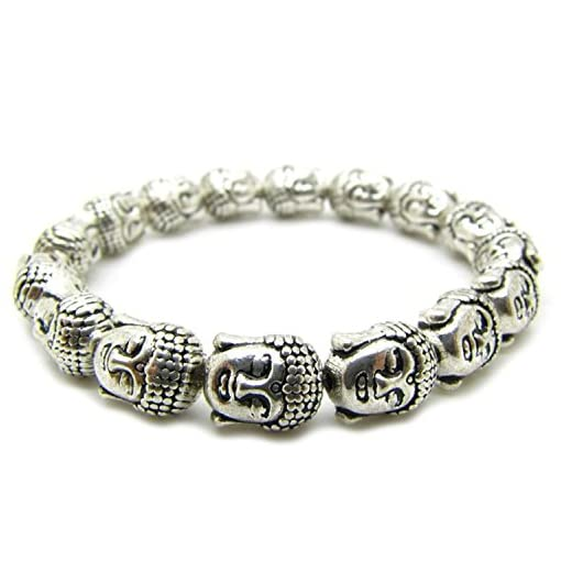 Retro-tibetischen-Silber-Buddha-Kopf-handgefertigt-Armband-Perlen-10-mm