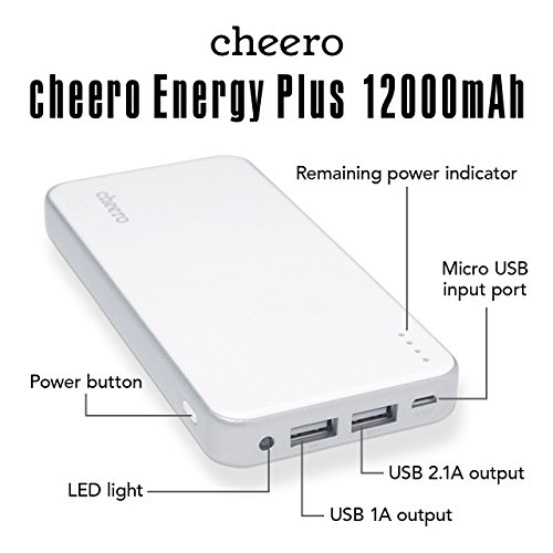 Cheero Energy Plus 12000mAh (Including 2A USB AC Adaptor) Power Bank