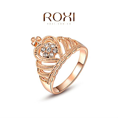 Slyq Jewelry Gift Rose Gold Plated Romantic Elegant Crown Ring Statement Rings Fashion Jewelry Party Wedding