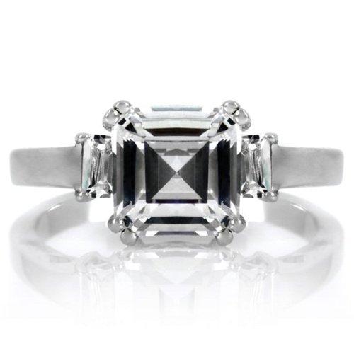 Cheri's 2.7 TCW Asscher Style CZ Three Stone Ring