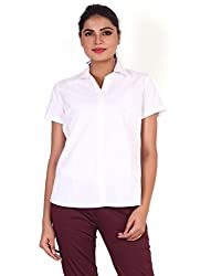 Valeta's Brilliant White Half Sleeves Formal Shirts For Women-S
