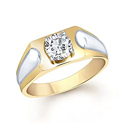 VK Jewels Traditional Gold and Rhodium Plated (CZ) Solitaire Ring - FR1096G Size 19 [VKFR1096G19]