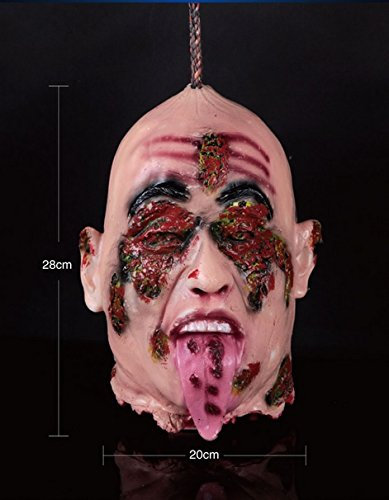 Halloween Prop- Scary Hanging Severed Zombies Head Bubber Latex Life Size Gory for Party Haunted House
