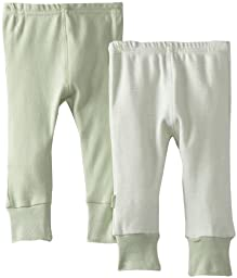 Kushies Unisexbaby Everyday Layette 2 Pack Cuffed Pant, Sage Solid/Stripe, 3 Months