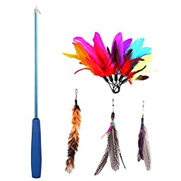 8 Pcs Assorted Feather Cat Toy, Etrech Retractable Wand Rod With 8 Pc Feather Teaser Cat Catcher - Perfect Teaser for Exercising Kitten or Cat (Blue)