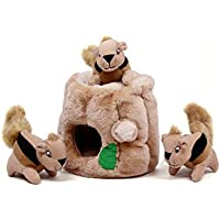Outward Hound Hide-A-Squirrel and Puzzle Plush Squeaking Toys for Dogs (Large)