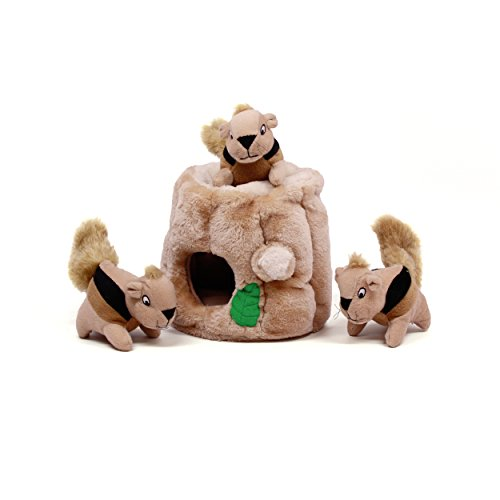 Outward Hound Kyjen 31011 Hide-A-Squirrel Squeak Toy Dog Toys 4-Piece, Large, Brown