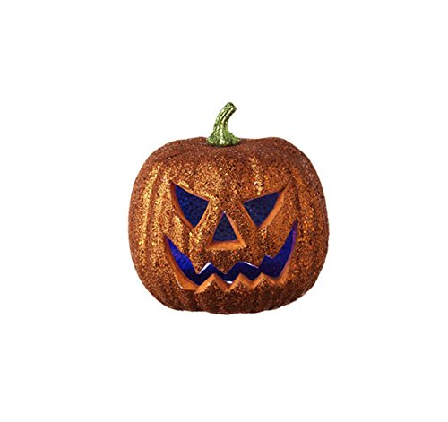 "8"" Led Lighted Color Changing Glittered Jack-O-Lantern Pumpkin Halloween Decoration"