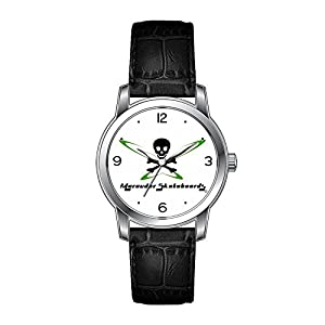 AMS Christmas Gift Watch Women's Vintage Design Leather Black Band Wrist Watch Custom Skateboard Watch