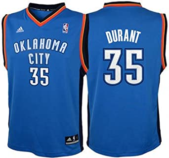 Buy Kevin Durant Oklahoma Thunders Away Light Blue NBA Kids Revolution 30 Replica Jersey by adidas