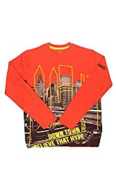 Poppers by Pantaloons Boy's Round Neck T-Shirt (205000005613355, Orange, 7-8 Years)