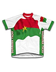 Burkina Faso Flag Short Sleeve Cycling Jersey for Women