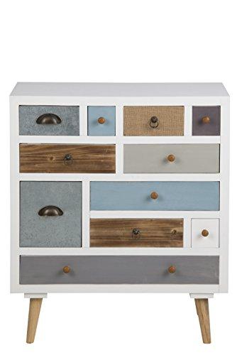 AC-Design-Furniture-63374-Kommode-Suwen-mehrfarbigen-Schubladen-Beine-Kiefernholz-klar-lack-11-Stck-wei