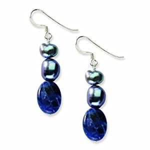 Sterling Silver Sodalite and Grey Freshwater Cultured Pearl Earrings